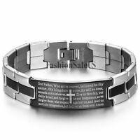 Stainless Steel Silver Black Tone Cross Bible Verses Mens Bracelet Chain Bangle