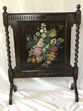 Quality Vintage Jacobean Style Barley Twist Oak Hand Painted Floral Firescreen