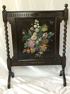 Quality Vintage Jacobean Style Barley Twist Oak Hand Painted Floral Firescreen
