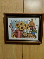 Completed Cross Stitch Brown Cat - Sunflowers Watering Can Birds Bees - Framed