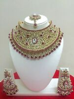 Indian Bollywood Fashion Gold Plated Bridal Jewelry Necklace Set