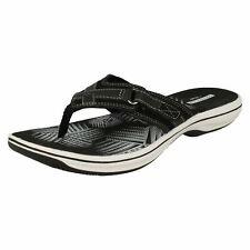 Ladies Clarks Toe Post Sandal Brinkley Sea UK 7 Black