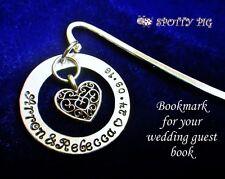 Personalised Guest Book Bookmark Wedding Date + Bride & Groom's Names Stamped