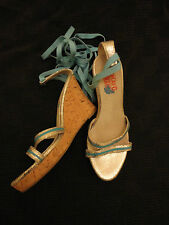 Blue & Silver Leather Cork Wedge Sandals / Shoes by The Replay Co - Size 4 UK