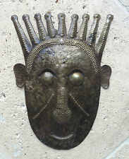 """Sculpture WALL ART Mask CHIEF HANDMADE from Recycled Metal barrel, 12"""""""
