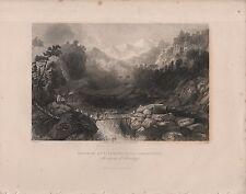 """India/Antiguo Impresiones - """"cruzar un Sangha, cerca de jumnotree"""" - Himalaya (c.1840)"""