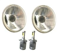 "1 PAIR 7"" ROUND H6024/H6017 H4 CONVERSION HEADLIGHT + H4 LED WHITE BULBS HL7LF"