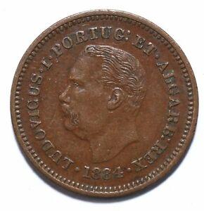 1884, India Portuguese, 1/8 Tanga - Luiz I, Copper, gVF, KM# 307, Lot [1322]