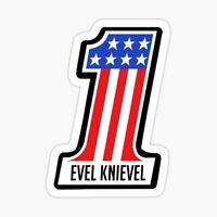 Evel Knievel Flag Stars And Stripes Sticker Vinyl Decal 3x5 inch 7-110