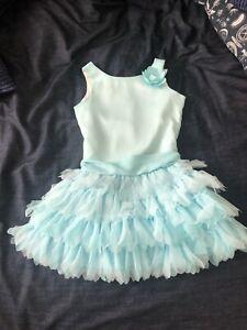 Biscotti Aqua Blue Girls Sleeveless Drop Waist Dress with Tulle Ruffles Size 7