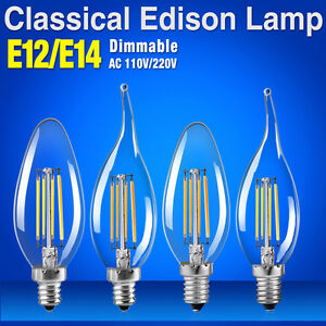dimmable e14 e12 8w 110/220v filament led bulb candle flame lights edison lamps