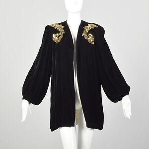 Medium 1940s Coat Black Velvet Gold Sequin Epaulettes Bishop Sleeve Jacket VTG