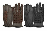Mens Driving Gloves Classic Vintage Top Quality Leather Dress Fashion Retro