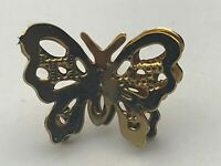 Gold Tone Butterfly Lapel Pin Very Pretty  A8