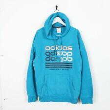 Vintage ADIDAS Big Logo Spell Out Hoodie Sweatshirt Blue Large L