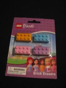 Lego Friends BRICK ERASERS 4 Pack New Purple blue pink Party school supplies