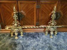 Vintage Ornate Brass Fireplace Andirons w/ Twisted Cross Bar