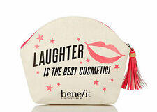 Benefit Cosmetics Canvas Zipper Makeup Bag Laughter is the best cosmetic new