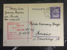 1943 Jasienica Poland GG Postcard Cover To Polish ReD Cross In Krakau