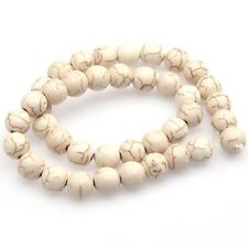 6mm White Howlite Turquoise Gemstone Round Loose Bead Finding Charms