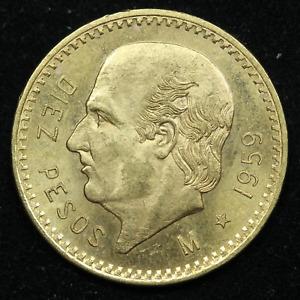 1959 10 Pesos Diez Pesos Mexico Gold Coin