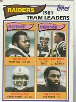 FREE SHIPPING-MINT-1982 Topps #185 Oakland Raiders TEAM LEADERS