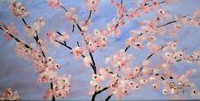 "Japanese Cherry Blossom Tree Painting signed ""Robert"" COA Gallery Wrap"