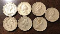 7 1 Pound Coins Queen Elizabeth II Lot 1983, 1984, 1985, 1989, 1991