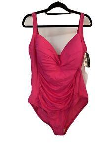 NWT 22W $127 La Blanca Plus Pink Tummy Control Sexy One Piece Swimsuit Swim Suit