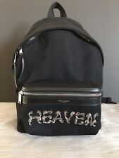 24c73ca1ca00 SAINT LAURENT City Logo Canvas Backpack EMBROIDERED WITH HEAVEN IN BLACK