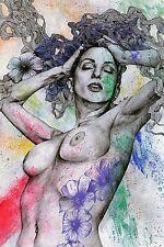 Disegno erotico Ritratto donna nuda con fiori Matita e acrilico Quadro moderno