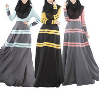 Women Long Sleeve Abaya Kaftan Jilbab Muslim Maxi dress Islamic Dubai Cocktail