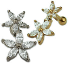 2 Blumen Ohr Helix Tragus Piercing Schmuck viele Kristalle Silber Rosegold Stern