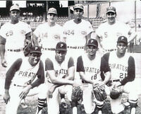 pete rose,johnny bench,tony perez,roberto clemente,willie stargell 8x10 1968 a.s