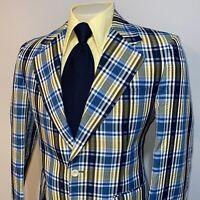 Vtg 60s 70s Plaid POLYESTER Blazer Leisure Suit Jacket Seersucker Coat Mens 40 L