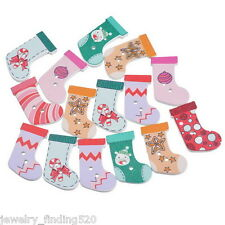 Lots Wholesale Sock Wood Button Two Holes Scrapbooking Craft Christmas Décor