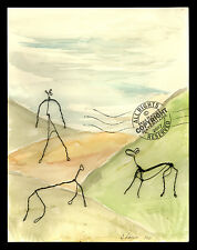 Horses on Hill 2011 ORIGINAL WATERCOLOR landscape PAINTING Wire Sculpture SIGNED