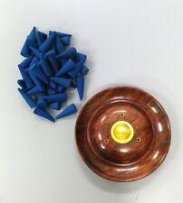 50 Ocean Breeze Scented Incense Cones + Round Burner Wooden Saucer