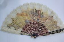 Lovely Vintage Spanish Hand Painted Fan Signed Lace
