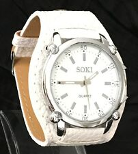 NEW large White SOKI watch with a SILVER dial face UK SELLER