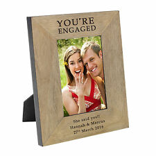 Youre Engaged Wood Photo Frame 6x4 Personalised Engraved Present Engagement Gift