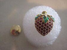 Swarovski Swan Signed Strawberry Crystal Tack Tac Lapel Pin Rare and HTF