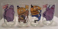 4 Mc Donalds 1977 McDonaldland Action Series Glasses LOT 4A Grimace McMayor Mac