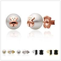 Cute Teddy Bear Earrings 18K Gold Crystal/Pearl Women Jewelry Stud Earrings Gift