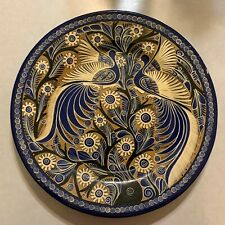 Polish Folk Art - Serving Platter or Wall Hanging - Blue and Gold - Birds - 16""