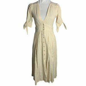 Free People Love of My Life Midi Dress S Cream Button Front Tie Sleeves V Neck