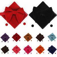 USA Men Velvet Oversized Bow Tie Pocket Square Cufflinks Wedding Bowtie Set