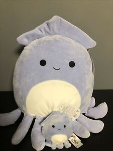"""Squishmallow 12"""" Stacy The Squid & Clip"""