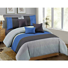 Collection 5-Piece Stripe Comforter Set Blue Bed in a Bag Complete Bedding Queen
