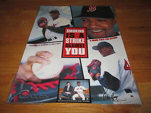"""PEDRO MARTINEZ """"Smoking is a STRIKE Against You"""" BOSTON RED SOX Poster DUQUETTE"""